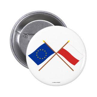 EU and Poland Crossed Flags 6 Cm Round Badge