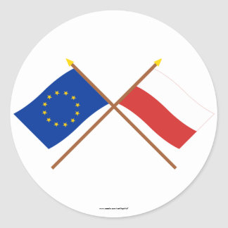 EU and Poland Crossed Flags Classic Round Sticker