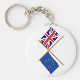 EU and United Kingdom Crossed Flags Basic Round Button Key Ring