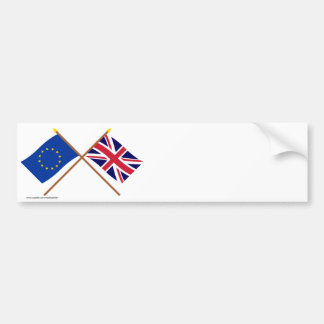EU and United Kingdom Crossed Flags Bumper Sticker