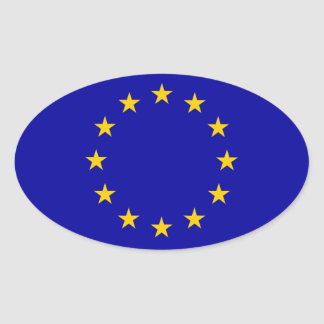 EU European Union Flag Oval Sticker