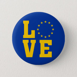 EU Flag, European Union, LOVE 6 Cm Round Badge