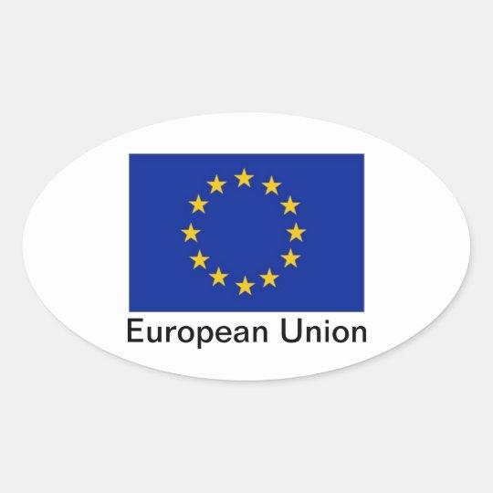 EU flag oval stickers