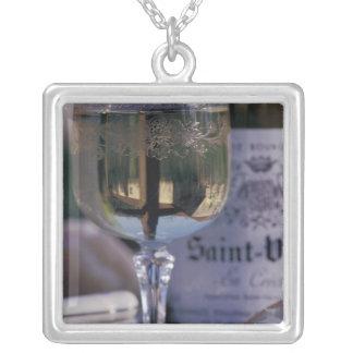EU, France, Chablis, Local wine Square Pendant Necklace