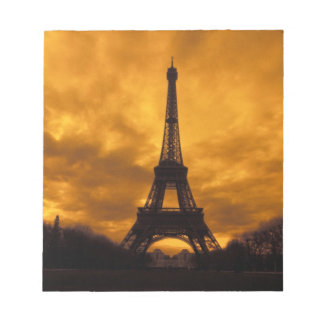 EU, France, Paris.  Eiffel Tower. Notepad