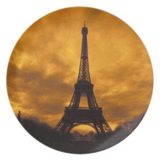 EU, France, Paris.  Eiffel Tower. Plate