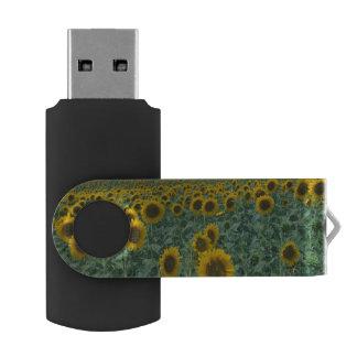 EU, France, Provence, Sunflower field Swivel USB 2.0 Flash Drive