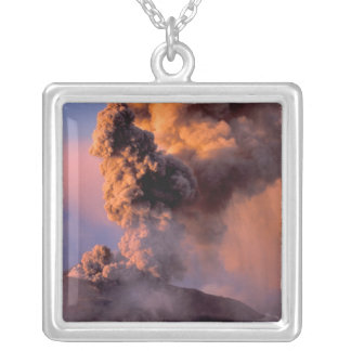 EU, Italy, Sicily, Mt. Etna summit vent Silver Plated Necklace
