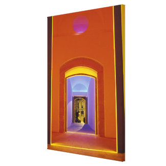 EU, Spain, Barcelona. Lit doorway near Picasso Stretched Canvas Prints