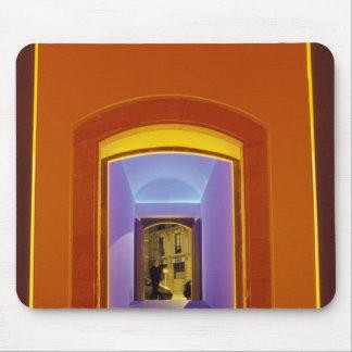 EU, Spain, Barcelona. Lit doorway near Picasso Mouse Mat