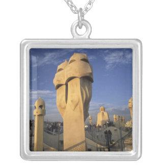 EU, Spain, Catalonia, Barcelona. Antonio Gaudi's Silver Plated Necklace