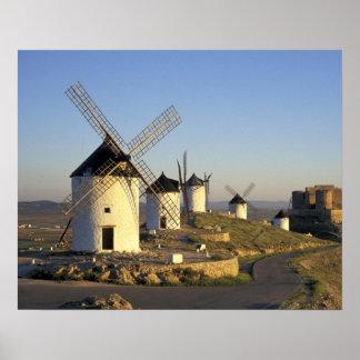 EU, Spain, La Mancha, Consuegra. Windmills and Poster