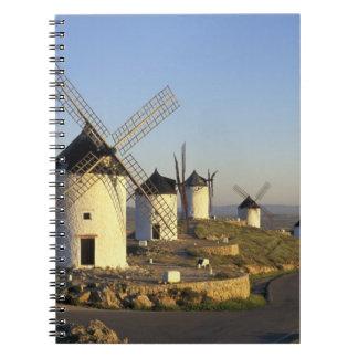 EU, Spain, La Mancha, Consuegra. Windmills and Spiral Notebook
