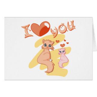 Eu te amo gatos - I love you cats Cartoes