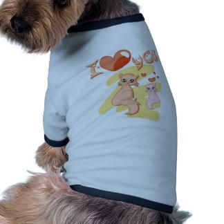 Eu te amo gatos - I love you cats Camisas Para Cães
