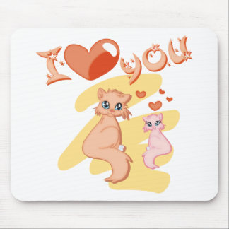 Eu te amo gatos - I love you cats Mousepads