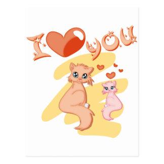 Eu te amo gatos - I love you cats Cartão Postal