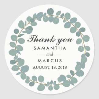Eucalyptus Circle Greenery Wedding Thank You Classic Round Sticker