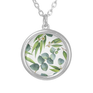 Eucalyptus Foliage Pattern Silver Plated Necklace