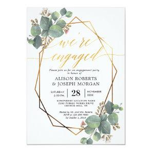 Eucalyptus geometric frame engagement invitation