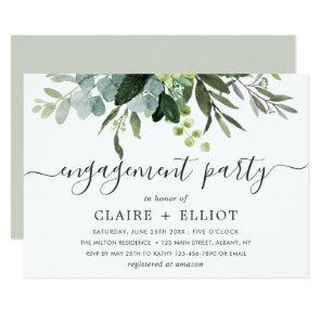 Eucalyptus Green Foliage Engagement Party Invitation