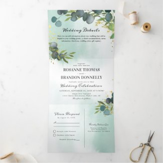 Eucalyptus Greenery 3 in 1 Wedding Tri-Fold Invitation