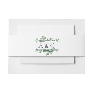 Eucalyptus Leaves Monogram Wedding Invitation Belly Band