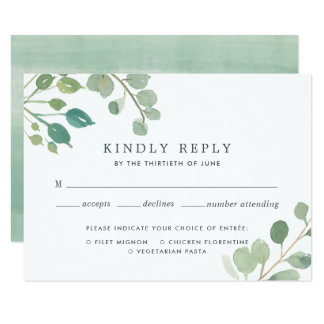 Eucalyptus RSVP Card with Meal Choice