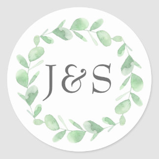 Eucalyptus wedding personalized initial stickers