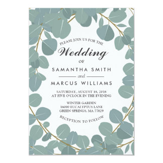 Eucalyptus Wreath Greenery Wedding Invitation
