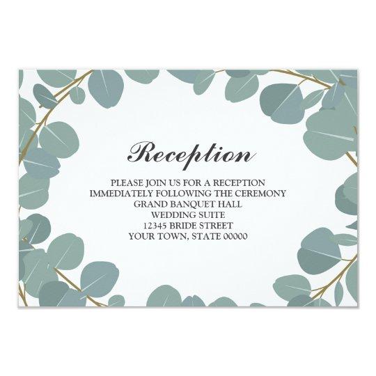 Eucalyptus Wreath Greenery Wedding Reception Info Card