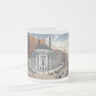 Euclid Ave., Cleveland 1916 Vintage Frosted Glass Coffee Mug