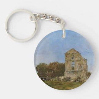 Eugene Boudin- Deauville, Ruins of Chateau Lassay Key Chain