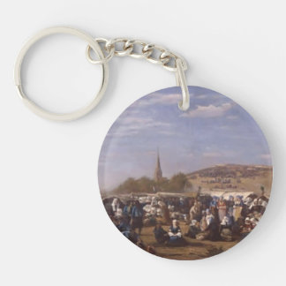 Eugene Boudin- Forgiveness in the St. Anne chapel Key Chains