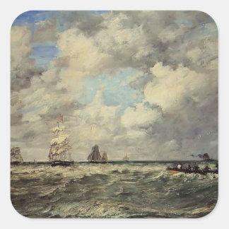 Eugene Boudin- Seascape, Les Lamaneurs Square Sticker