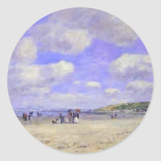 Eugene Boudin-The Beach at Tourg ville les Sablons Stickers