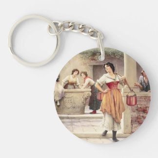 Eugene de Blaas- Flirtation at the Well Single-Sided Round Acrylic Key Ring