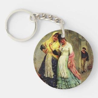 Eugene de Blaas- The Flirtation Single-Sided Round Acrylic Key Ring