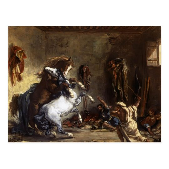 Eugene Delacroix- Arab Horses Fighting in a Stable Postcard