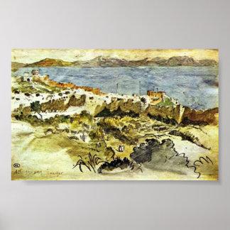 Eugene Delacroix - Bay of Tangier in Morocco Poster