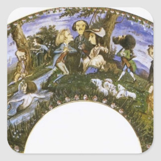 Eugene Delacroix: Fan with Caricatures Square Stickers