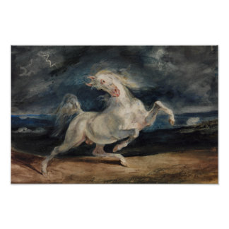 Eugene Delacroix - Horse Frightened by Lightning Poster