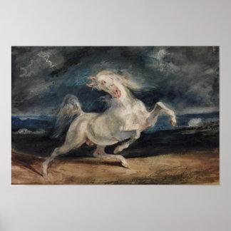 Eugene Delacroix - Horse Frightened by Lightning Poster