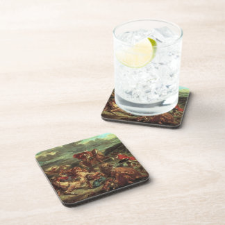 Eugene Delacroix- Lion Hunt Beverage Coaster