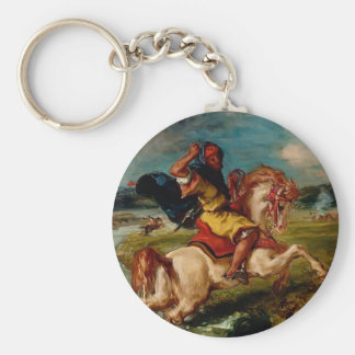 Eugene Delacroix-Moroccan Horseman Crossing a Ford Keychains