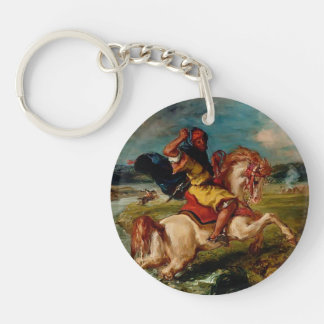Eugene Delacroix-Moroccan Horseman Crossing a Ford Single-Sided Round Acrylic Key Ring