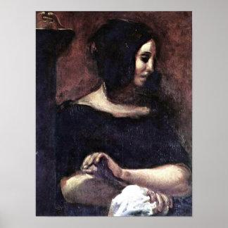 Eugene Delacroix - Portrait of George Sand Poster
