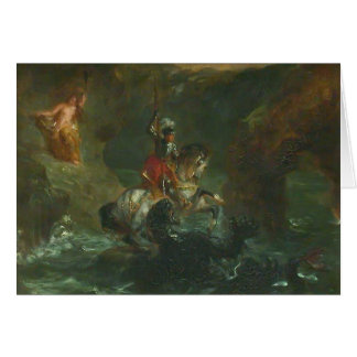 Eugene Delacroix- Saint George Fighting the Dragon Greeting Card