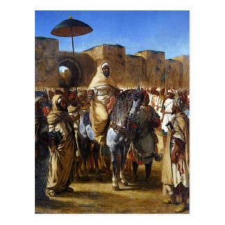 Eugene Delacroix- The Sultan of Morocco leaving Postcard