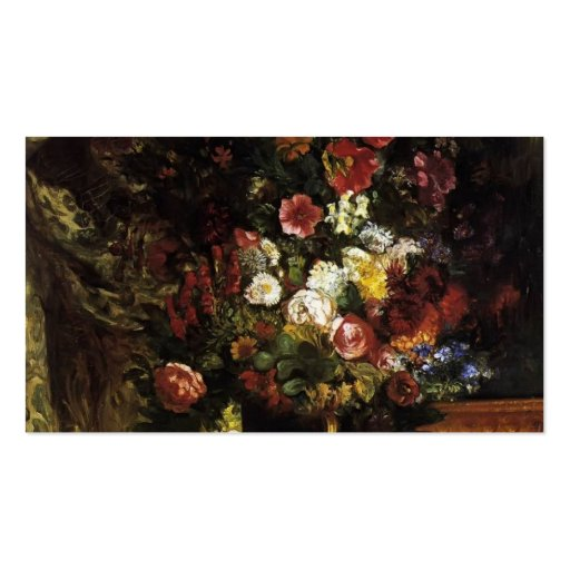 Eugene Delacroix- Vase of Flowers on a Console Business Card Templates